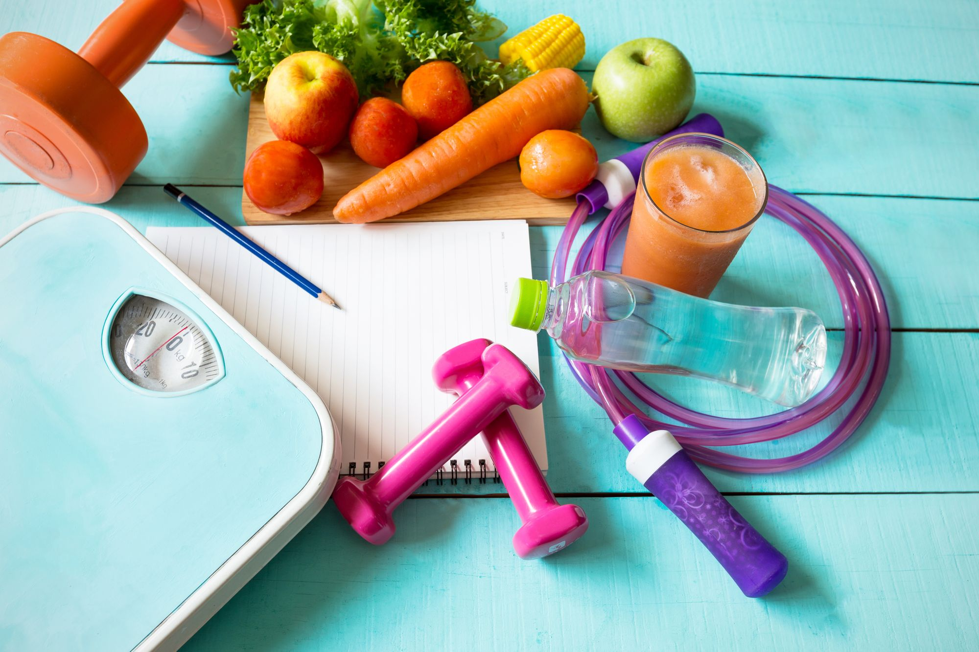 weighing-scales-and-healthy-food