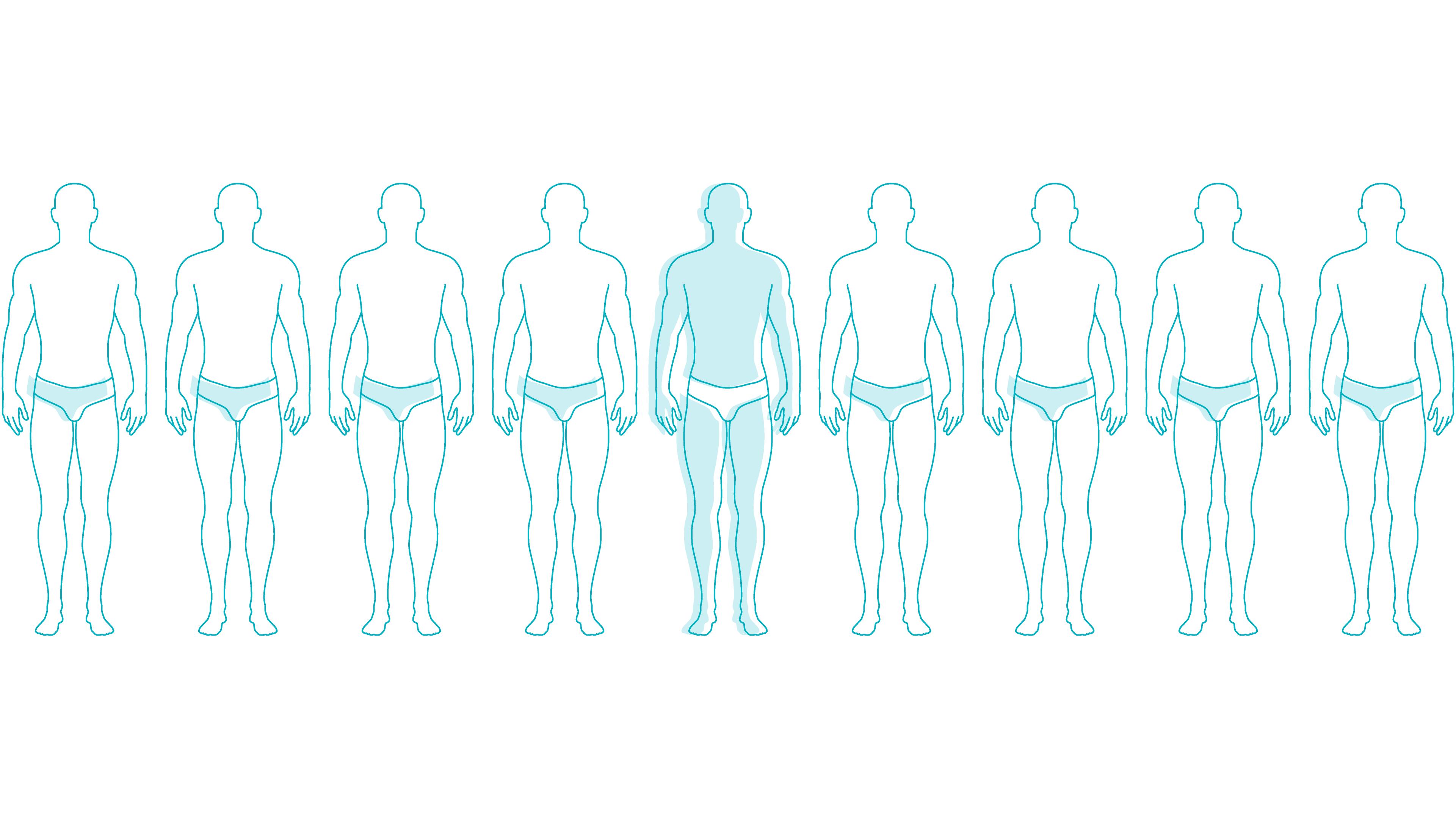 men standing in line