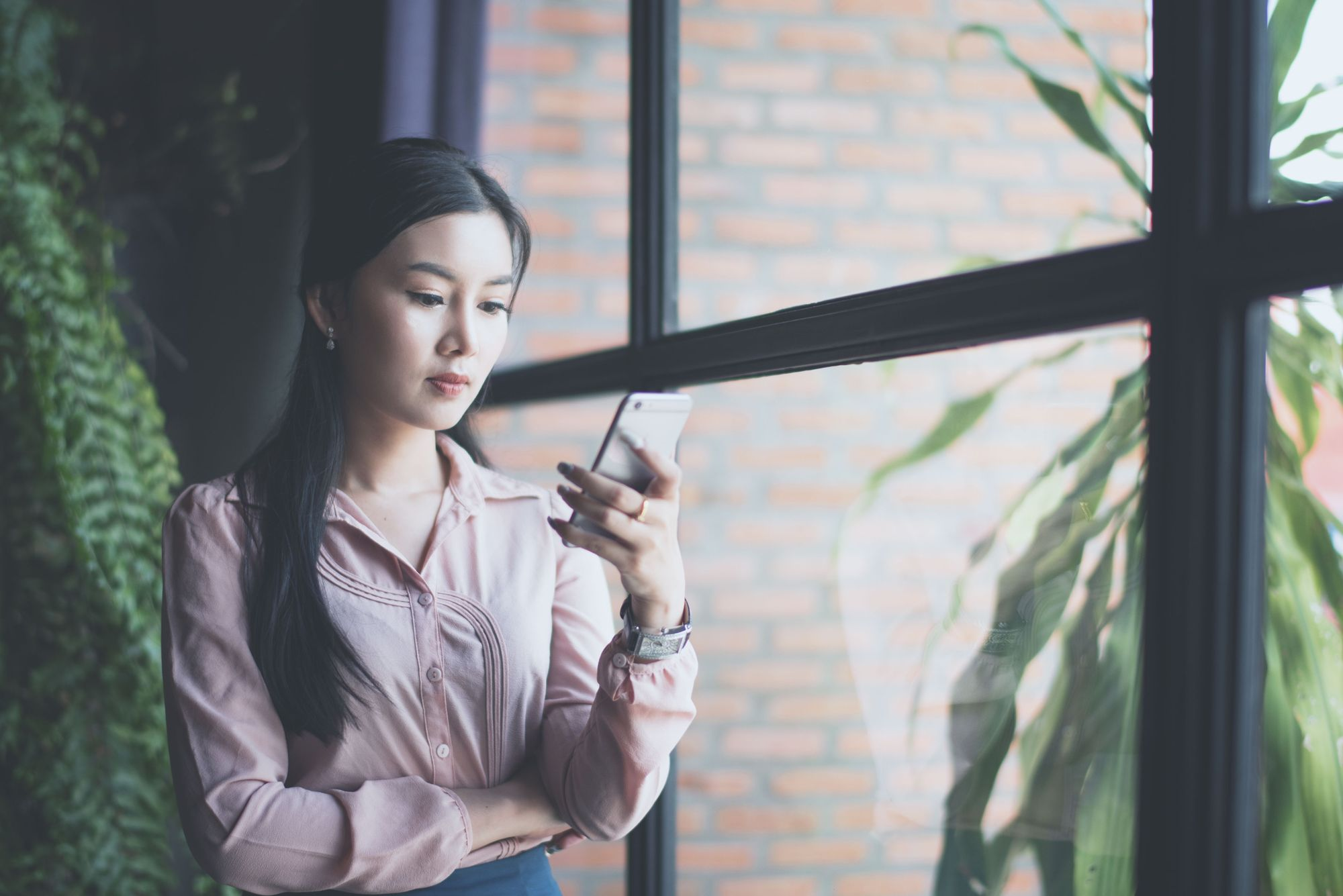 Woman searching on phone