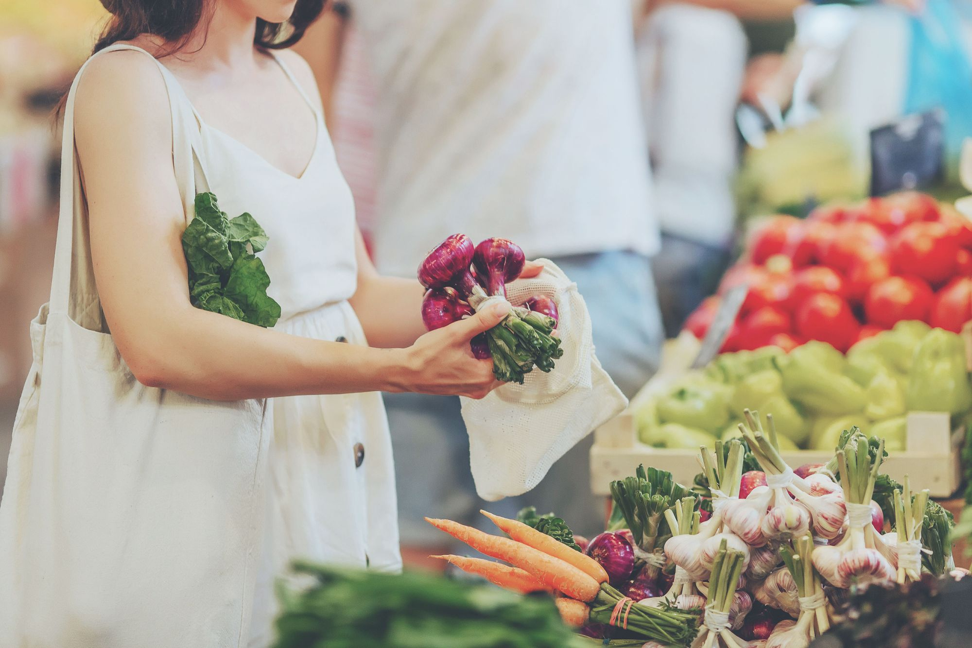 Women healthy food shopping