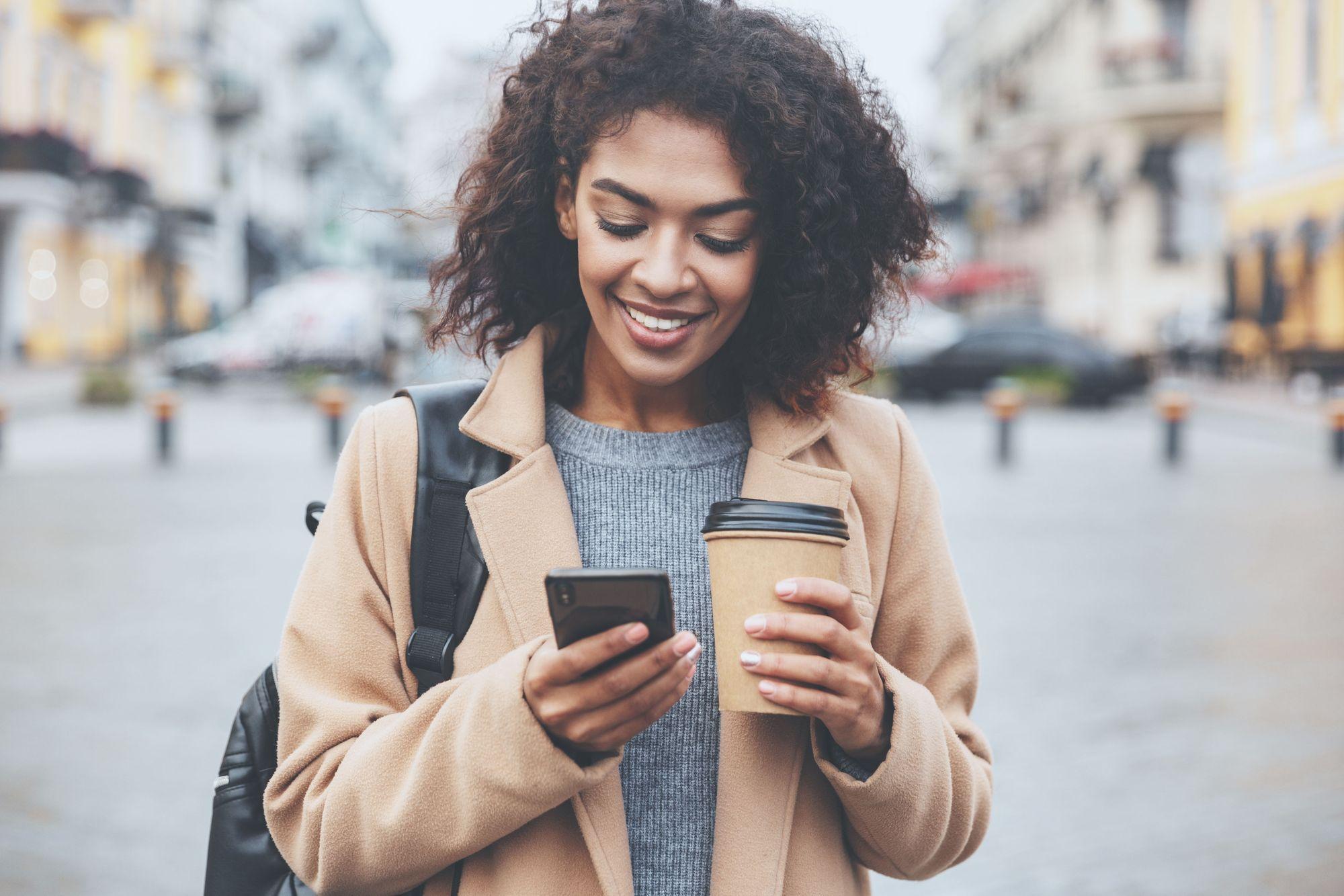 Lady smiling on phone