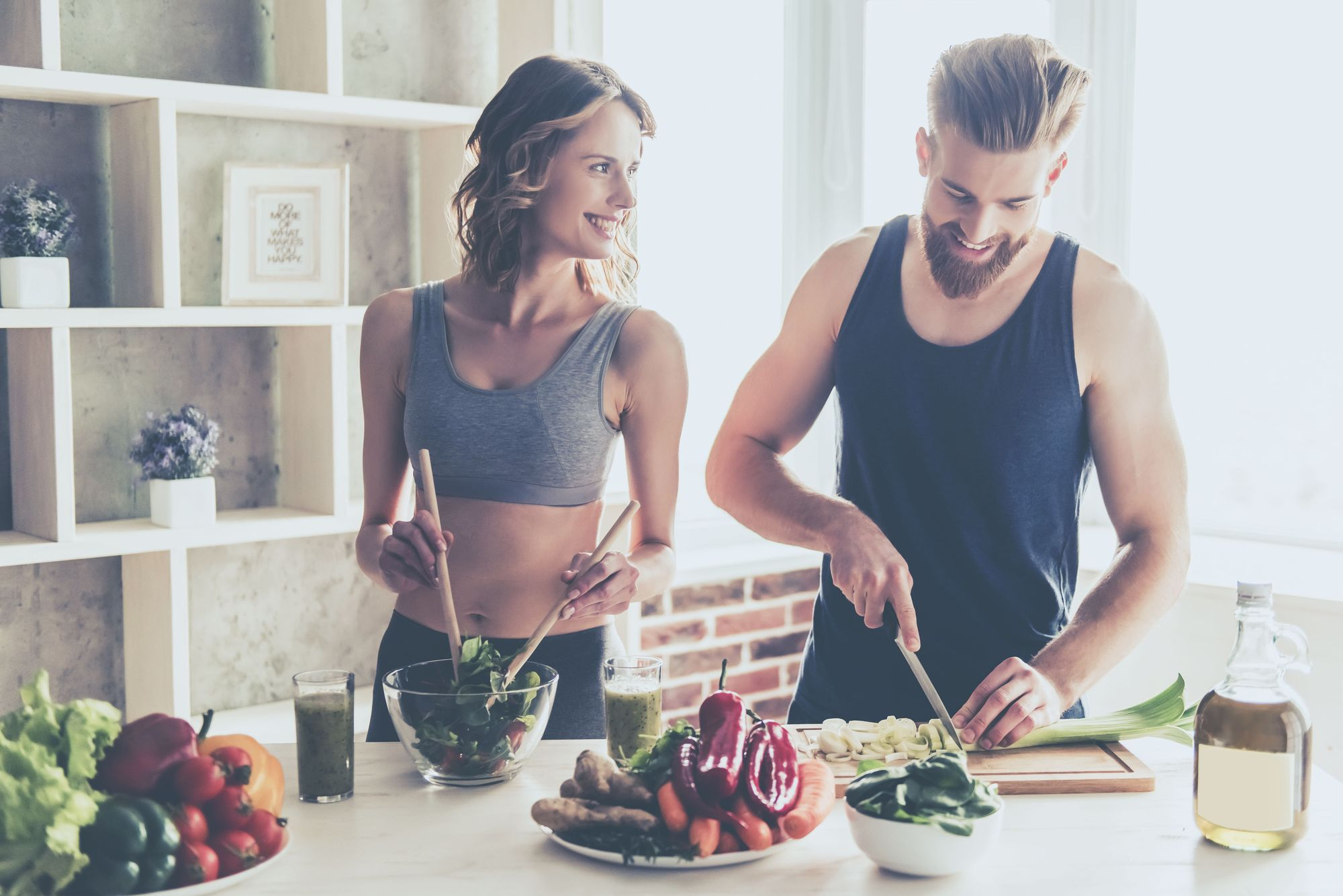 Happy couple eating healthy